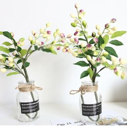 wholesale copper kitchen Canada - Artificial Simulation Berry Flower Plant Bouquet Home Wedding Party Decoration Shipping