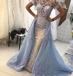 Cap sleeve mermaid pageant dress online shopping - Light Sky Blue Lace Mermaid Evening Dresses Illusion Bodices Short Sleeve Appliqued Formal Pageant Gowns with Overskirts Arabic BC2286