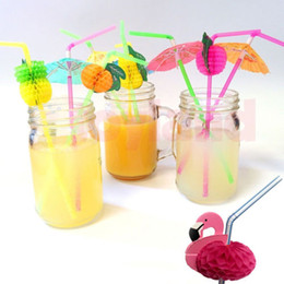 drink decorations cocktails Australia - Cheap Plastic Straw Umbrellas Fruit Cocktail Umbrella Plastic Drinking Straws Mixed Stirrers Bar Pub Party Decorations