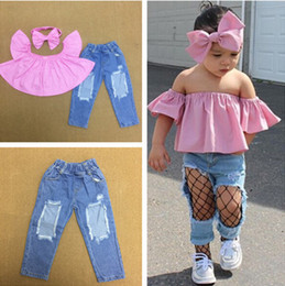 Children s fashion jeans online shopping - Children babygirls piece set slash neck strapless pink t shirt bodycon denim jeans Hole bow hairband summer clothing lovely fashion
