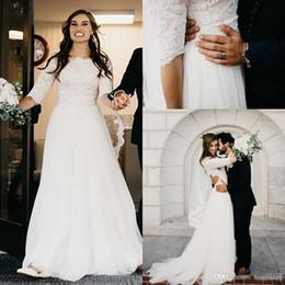 $enCountryForm.capitalKeyWord Australia - Elegant Lace Appliques A Line Country Wedding Dresses 2019 Newest Half Sleeves Sweep Train Wedding Bridal Gowns Custom Made Plus Size