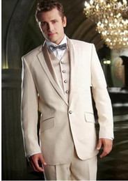 Gold Ivory Tuxedos For Groom NZ - 2019Latest Jacket Design Men Suits For Wedding Ivory Tuxedo Custom Grooms Gown Suit Jacket Terno Slim Costume Homme Mariage 3PCS