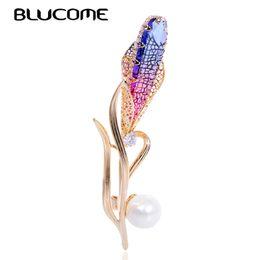 $enCountryForm.capitalKeyWord UK - wholesale Fashion Plant Leaf Brooch Imitation Pearl Colorful Zircon Copper Pin Women Clothing Scarf Suit Wedding Chest Accessories