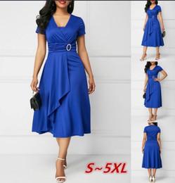 78a8da744b81c2 Plus Size Women Fashion Summer Sexy Asymmetrical Hem V-Neck Dress High  Waist Party Evening Dress S-5XL