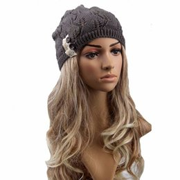 beret knitted NZ - New Arrivals Especially Women Button Warm Hat Lace Leaves Hollow Out Knitting Hat Cap Berets gorros mujer invierno boina