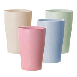 Green Plastic Straws Australia - 4pcs set Wheat Straw Water Cup Multi-Functional Cola Coffee Plastic Cup Drinking Cup Kids Cups Reusable Bright hx0068