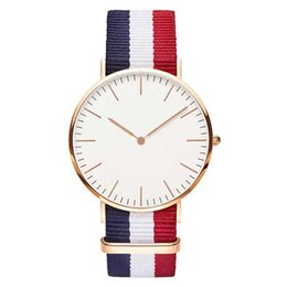 red nylon watch band NZ - 2019 Hot Ultra Slim Quartz Watch Simple Nylon Band Relogio Masculino Fashion woman men Wristwatches 11 Styles Dropshipping