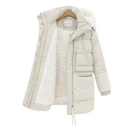 Chinese  Elexs Winter Women Hooded Zipper Down Jacket Fleece Inside Long Casual Coat Outerwear Parkas Chic Lamb Fur Coat Female manufacturers