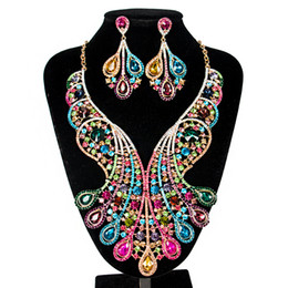 Dark Gifts UK - Womens Luxury Africa Dubai 18k Gold Plated Jewelry Sets Wedding Rhinestone Crystal Bib Statement Necklace Earrings Set for Brides Party Prom