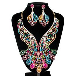 $enCountryForm.capitalKeyWord UK - Womens Luxury Africa Dubai 18k Gold Plated Jewelry Sets Wedding Rhinestone Crystal Bib Statement Necklace Earrings Set for Brides Party Prom