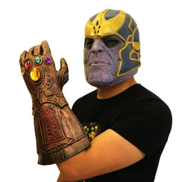 Chinese  Avengers 4:Endgame Infinity Stones Thanos Mask And Gloves Infinity Gauntlet Marvel Natural Latex Helmet Cosplay Custome Halloween New year manufacturers