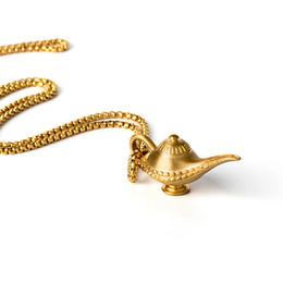 Lamp Necklace Australia - Titanium Steel Necklace - Magic Genie Light Lamp Pot Classic Retro Pendant Mens Womens Necklaces Retro Jewelry Lover Sweater Chain