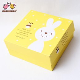 wholesale for cupcake packaging NZ - (10pcs) 17*12*12CM Lovely Yellow Rabbit Decoration 4 Cupcake Box Muffin Cake Box For Children Birthday Party Gift Candy Packaging