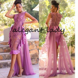 Red o neck pRom gown online shopping - Latest Amazing Asoebi Short Lace Prom Formal Dresses with Train Fuchsia Sheer O neck African Nigerian Cocktail Evening Wear Gowns