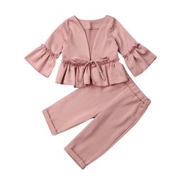 fur suit coat Australia - Chiffon Soft Girl Clothes 2019 Toddler Kids Baby Girl Clothes Formal Suit Ruffle Coat+Long Pants Outfits Autumn
