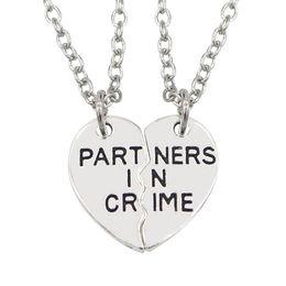 $enCountryForm.capitalKeyWord Australia - 2Pcs Set Letters Printed Heart Pendant Matching Necklaces Unisex Jewelry Gift New