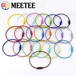 $enCountryForm.capitalKeyWord Australia - Meetee 1.5*150mm Key Chain O D Rings Buckles Screw Lock Paint Wire Rope Cable Rope Key Holder Rings 19 Colors