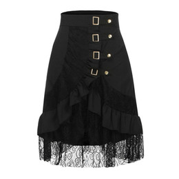 jupe clothing 2019 - 2019 Spring Summer Women's Fashion Solid Steampunk Clothing Party Club Wear Punk Gothic Retro Black Lace Midi Skirt