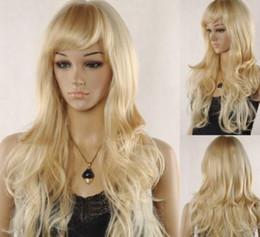 $enCountryForm.capitalKeyWord Australia - WIG ZCD MISS 001724 Women Oblique Bangs Cosplay Long Curly Mix Light Blonde Hair Full Wig Free Cap