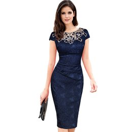 Chinese  Women Vintage Dresses Female Short Sleeve Rose Lace Dress Round Neck Pencil Dress Spring Dark Blue Formal Office Work Clothing T4190605 manufacturers