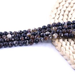 Brown gemstone Beads online shopping - Brown Frost Fire Agate Bead mm strand Gemstone beads natural Factory For Jewelry Making Diy