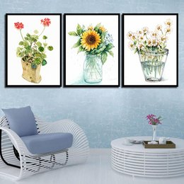 $enCountryForm.capitalKeyWord NZ - HD Print Picture Poster Wall Art Living Room Bedroom Beautiful Sunflower Nordic Watercolor Canvas Painting Bedside Home Decor