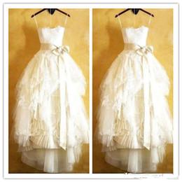 Strapless Full Skirted Wedding Dress Australia - Vintage Full Lace Wedding Dresses Floor Length 2019 Straplesss Appliques A Line Ruffles Tulle Summer Spring Beach Bridal Gowns Custom Made