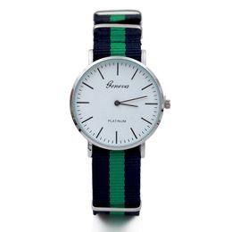 $enCountryForm.capitalKeyWord Australia - 50pcs Fashion Men Women Unisex Geneva Platinum Nylon Fabric watch Sport thin wrist Canvas Quartz Dress wrist watches for men women