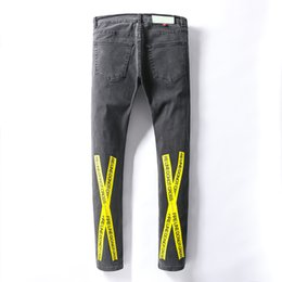 Grey jeans slim fit online shopping - 2019 Trousers New Straight Foot Brand Mens Designer Jeans Yellow Warning Slogan Strip Fashion Jeans Grey Slim Fit Solid Hip Hop Size