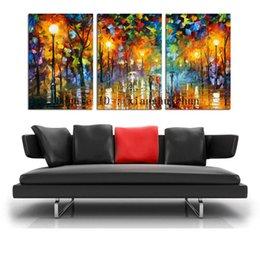 $enCountryForm.capitalKeyWord Australia - Leonid Afremov : People Walking On The Street,3 Pieces Home Decor HD Printed Modern Art Painting on Canvas (Unframed Framed)