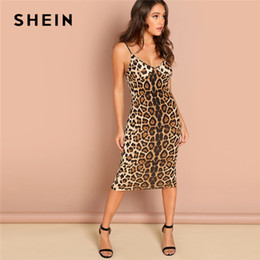 3bf3ab828c23 Shein dreSSeS online shopping - SHEIN Multicolor Sexy Party Backless  Leopard Print Cami Sleeveless Pencil Skinny