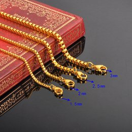 $enCountryForm.capitalKeyWord Australia - FUNIQUE 45 50 55 60cm Stylish Stainless Steel Box Chain Necklace For Men Women Fine Jewelry Silver gold color Chain Necklace