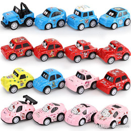 Discount toy alloy cars set - Children toy Cartoon car Q version mini alloy car model set Sliding car model decoration Christmas birthday gift wholesa