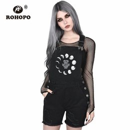 China ROHOPO Gothic Vintage Girl Overall Shorts Buckle Strap Punk Moon Preppy Female Overall Hot Shorts Dark Black Woman Street cheap vintage overall shorts suppliers