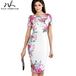 $enCountryForm.capitalKeyWord NZ - Nice-forever Vintage Flower Print Wear To Work White Vestidos Business Bodycon Sheath Women Office Elegant Pencil Dress B455 J190511