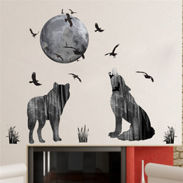 Bird Wall Stickers Australia - Forest Moon Wolf Wall Stickers PVC Material Forest Birds DIY Animal Wall Poster for Kids Rooms Decoration Mural Art