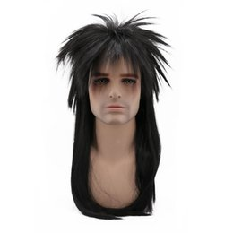 Mans Small Wig Australia - 80s Retro Long Straight Punk Fluffy Hair Black Cosplay Costume Wigs for Male Men