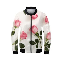 ebdfd566433 Women s Bomber Jacket Fashion Luxury Rose Pattern Coats Stand-Up Collar  Full Sleeves Ribbed Cuffs Outerwear Casual Clothing