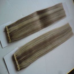 seamless human hair extensions 2019 - Piano color golden black brown 200g Remy Tape In Human Hair Extension Full Cuticle Seamless Straight Skin Weft Hair Salo