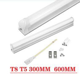 venda por atacado Tubo de LED Lâmpada T5 6W 10W / T8 8W 12W LED gabinete luz plástico PVC fluorescente LED Bar T5 T8 tubos de luz Roupeiro iluminação da cozinha
