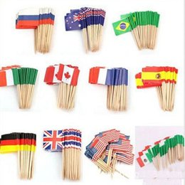 design cakes cupcakes Australia - New Design Mini Flags Paper Food Picks Toothpicks UK Australia American Flag Cupcake Decoration Fruit Cocktail Sticks Pretty Party