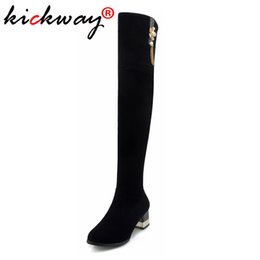 booties winter women UK - Drop Shipping Thigh High Boots Women Over the Knee Boots Comfort Fall Winter Faux Suede Fashion Shoes Woman Black Booties