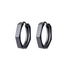 $enCountryForm.capitalKeyWord UK - S925 Silver Jewelry Retro Geometry Octagonal Black Ear Button Mens Net Red Couples Earring Tidal Ear Nail Wholesale