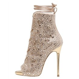 $enCountryForm.capitalKeyWord UK - Summer nude color rhinestone decorative boots sexy fish mouth high tube tie party dress high heels with plus size