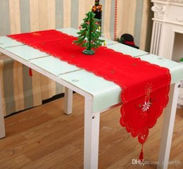 cane christmas decoration Canada - XmasTable Runner Sashes Cloth Christmas Santa Bell Cane Candle design Tassel Wedding Party Bed Table Runner Cloth Decoration