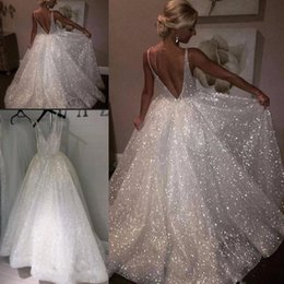 Sparkle Low Back Prom Dress Australia - White Sparkle Sequined Evening Dresses Deep V Neck Sexy Low Back Long Prom Dress Cheap Pageant Gowns Special Occasion Wear 2019