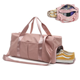 Pink Nylon Tote Bag Australia - Large Travel Bag Waterproof Nylon Pink Duffel Bags Dry Wet Tas Handbags For Women Men Shoes Travel Totes Carry On Luggage Pack