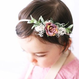 hair flower headbands Canada - Floral Baby Girl Headbands Newborn Baby Elastic Princess Hairbands Kids Pearl Flower Fresh Style Cute Hair Accessories