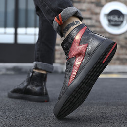 Discount top dance shoes - Street Hip Hop Sneakers Dancing Casual Rock Shoes Wax Leather Canvas Ankle Botas Classic Lace Up High Top Shoes Men Snea