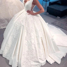 white winter church dress NZ - Dubai Arabic Satin Ball Gown Wedding Dresses Vintage Deep V Neck Backless Church Bridal Gowns Chapel Train Lace Appliqued Vestidos Z61